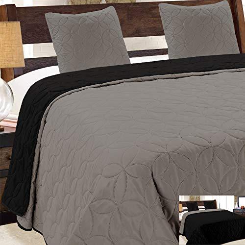 Euromat Zweiseitige Tagesdecke Bettüberwurf 3 TLG. 220X240 +2 Kissenbezüge Vigo Grau Graphit Schwarz 006