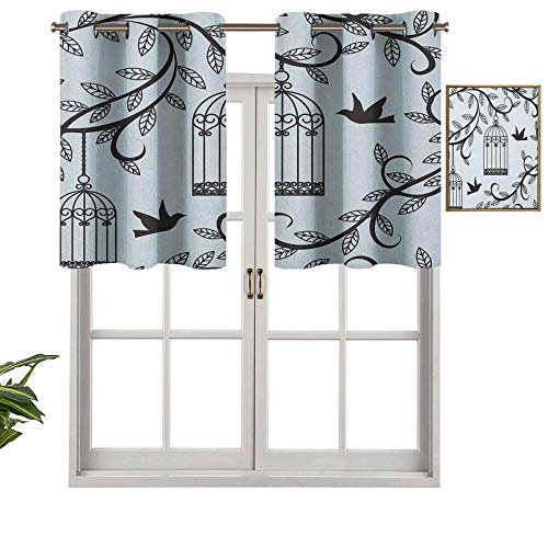 Hiiiman Grommet Top Curtain Panels Valances Ornate Cages with Branch of Tree Silhouette and Birds Floral Modern Artistic Print, Set of 1, 36'x18' Thermal Insulated for Living Room
