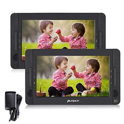 PUMPKIN Lecteur DVD Voiture Double Ecrans d'Appui tête 10,1 Pouce (Un Lecteur DVD Un Moniteur) Autonomie de 5 Heures supporte Dernière mémoire AV OUT/AV IN USB SD MMC