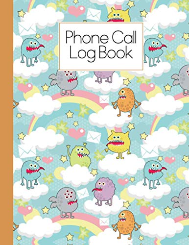 Phone Call Log Book: Cute Monsters Phone Call Log Book, Phone Message Book, 120 Pages, Size 8.5 x 11 Inch, 4 Messages per Page, 476 Sets