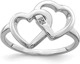 925 Sterling Silver Rhodium-plated Diamond accent Intertwined Heart Ring
