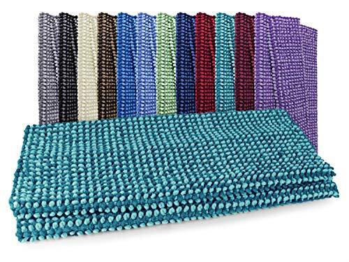 Dyckhoff Badteppich Drops - Ihr Teppich auch für Schlafzimmer und Wohnzimmer 7.14, Badvorleger (60 x 100 cm), türkis/Petrol