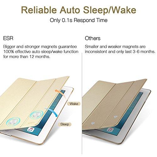 ESR iPad 2017 iPad 9.7 Zoll Hülle, Ultra Dünn Cover Auto aufwachen/Schlaf Funktion Smart Case Wickelfalz Ledertasche mit Lichtdurchlässig Rückseite Abdeckung Schutzhülle für iPad 9.7 2017 (Gold) - 6