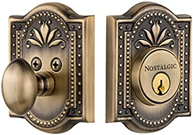 Nostalgic Warehouse Meadows Single Cylinder Deadbolt, Antique Brass