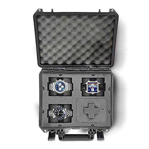 MC-CASES® - Caja para Relojes con Espacio para 4 Piezas - Maletín de Viaje Impermeable y con un Cierre Seguro - Máxima protección - Fabricada en Alemania