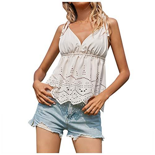 YANFANG Camisola sin Mangas con Cuello en V Suelto de Encaje Floral pequeño a la Moda para Mujer,Blusas y Camisas de Mujer,Linda Estampado Primavera Otoño Elegante Camisa