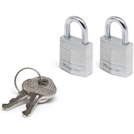 Master Lock 9120EURTCC Lote de 2 Candados con Llave con cuerpo de aluminio, Plateado, 20mm, Set de 2 Piezas