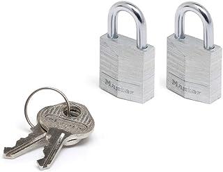 Master Lock 9120EURTCC Pack of 2 Key Padlocks in Aluminium, Grey, 2 x 3.4 x 1.4 cm