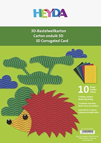 Heyda 204713595 3D-Bastelwellkarton / Bastelwellpappe (A4, 300 g/m², 10 Bogen, 5 Farben)