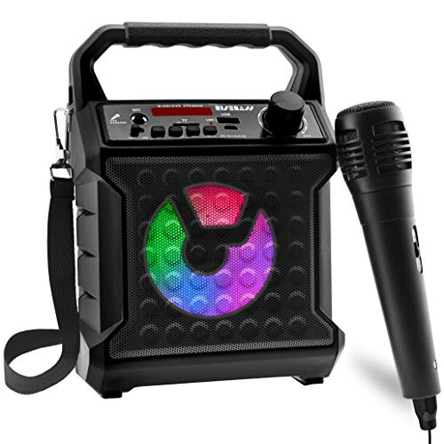 Risebass Portable Bluetooth Speaker with Microphone Set - Home Karaoke Machine and PA System for Kids and Adults with Party Lights - Rechargeable USB Speaker Set with FM Radio, SD Card and AUX (Black)