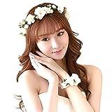 Mescara Bridal Hairband Floral Bandeaux Couronne Serre-tête Fleurs Cheveux de mariage avec bracelet fleurs Ruban Réglable (blanc, one size)