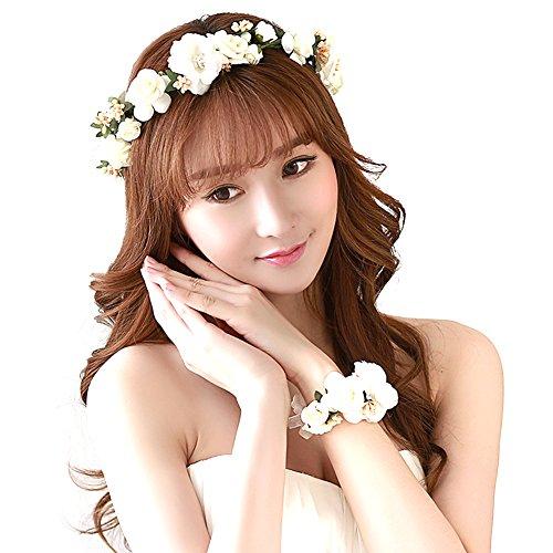Mescara Braut Haarband Blumenkranz Haarkranz Hochzeit Bänder mit Armband Blumen (weiß-2, OneSize)