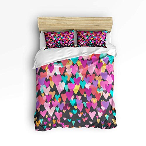 Butlerame 3 Piece Bedding Set Valentine'S Day Colorful Watercolor Love Polyester Duvet Cover Set