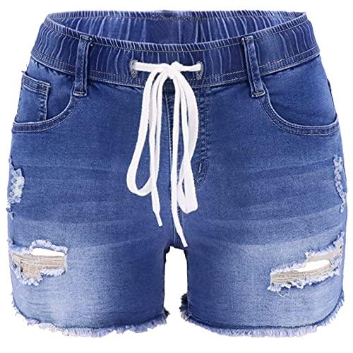 Pantalones Cortos de Mezclilla para Mujer Primavera y Verano Pantalones Cortos de Mezclilla Rasgados con Personalidad de Cintura Alta Ajustados con cordón elástico L