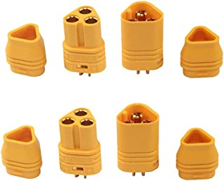 Yiqigou 2 Pairs Amass MT60 3 Pole 3.5mm Motor Plug Male Female Connector Set for RC Multicopter Quadcopter Airplane