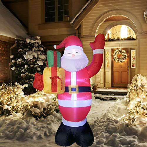 IIDEE 5ft Christmas Inflatable Santa Claus for Christmas Blow Up Yard Decorations Outdoor Built-in LED Lights with Tethers, Stakes for Christmas Outdoor Yard Decorations
