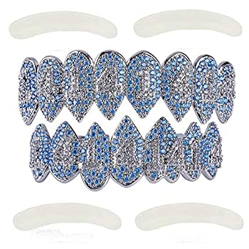 TOPGRILLZ Iced Out CZ Lab Diamond Tehran Zircon 14 Vampire Fangs Top and Bottom Grillz for Kids Men  Silver Set