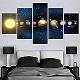 IKDBMUE Quadro su Tela - Cinque 5 Tele - I Nove Pianeti del Sistema Solare - Larghezza: 150cm, Altezza: 80cm - Pronto da Appendere - Completamente incorniciato - Elementi Multipli