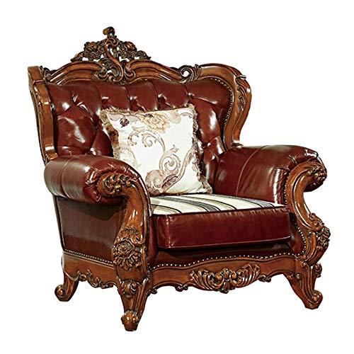 NBVCX Möbel Dekoration Ledersessel mit hoher Rückenlehne Lounge Akzent Stuhl für Wohnzimmer Büro Schlafzimmer Wing Back Ledersofa Stuhl (Farbe: Braun Größe: One Size)