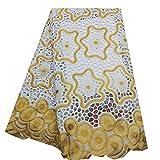 Desconocido Tela 5 Yardas de Encaje Africano Cordones de algodón Tejidos de Tul Africano Tela Cordones de Nigeria Boda Material de Encaje de Tul (Color : Yellow, Size : 5 Yards)