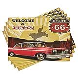 ABAKUHAUS Vintage ▾ Tovaglietta Americana Set di 4, Texas Noleggio Cowboy Parole, Tovagliette in Tessuto Lavabile per Tavolo da Pranzo Cena, Multicolore