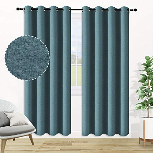 ALLJOY Thick 100% Blackout Curtains for Bedroom Window, 2 Panels Grommet Thermal Insulated Room Dark Curtains Panels Wide Window Drape for Living Room Window Drapes Panel, W42 x L84 Inch, Teal