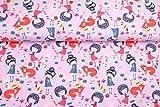 Doppelmoppel Jersey Stoff Elfenmädchen Elfen Fuchs rosa