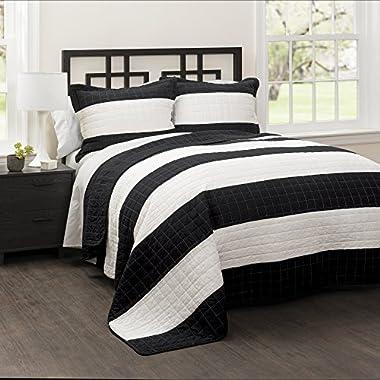 Lush Decor 16T000488 3 Piece Stripe Quilt Set, King, Black/White