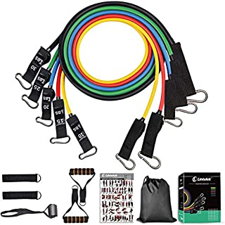 Lintelek Resistance Bands Set, 5 Stackable Training Tubes with Door Anchor, Legs Ankle Straps, Foam Handles(2020 Upgrade Version), for Resistance Training, Physical Therapy, Home Workout, Yoga
