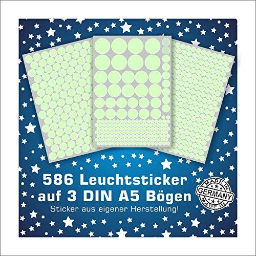 Folien-zentrum 586 Leuchtpunkte Leuchtsterne Leuchtaufkleber Wandsticker Sterne Aufkleber Sticker Kinderzimmer Schlafzimmer (Punkte)