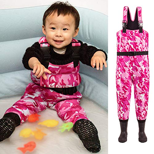 NEYGU Children's 5MM Neoprene Thermal and Waterproof Chest Wader with Rubber Boots,Keep Child Warm Under -31 ℉,Pink Camo Style 8-9T