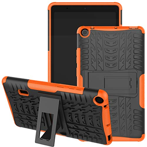 HUAWEI MediaPad T3 7 Wifi Case, Jhxtech Armor Style Hybrid PC + TPU Protective Case with Stand for Huawei MediaPad T3 WiFi 179mm 7.0 Inch Tablet Cover Protection (orange)