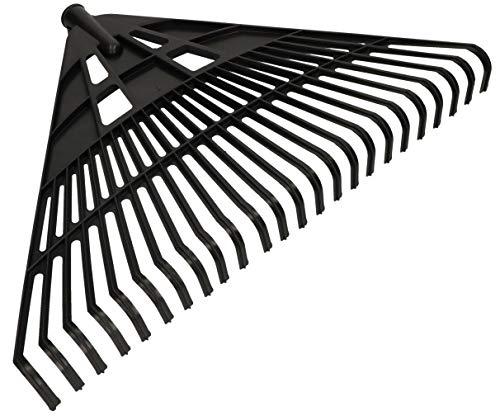 KOTARBAU® Robuster Rechen 610 mm Laubbesen Laubharke Fächerbesen Laubfeger Laubfächer Laubrechen aus Kunststoff Schwarz ohne Stiel
