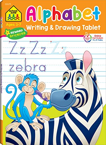 School Zone - Alphabet Writing & Drawing Tablet Workbook - 96 Pages, Ages 3 to 7, Preschool, Kindergarten, 1st Grade, Letters, ABCs, Printing, ... (Easy-Tear Top Bound Pad) (Writing Tablet)