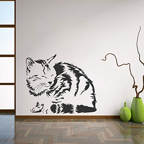 yaonuli Schlafende Katze Vinyl Wandaufkleber Hauptdekoration Wohnzimmer Haustier Auto Wandaufkleber Schlafzimmer Dekoration 63X30cm