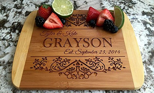Personalized Cutting Board for Wedding Gifts - Wood Cutting Boards, Also Bridal Shower and Housewarming Gifts (8.5 x 11 Two Tone Bamboo Rectangular, Grayson Design)