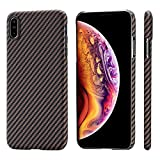 PITAKA Magnetic Slim Case Compatible with iPhone Xs Max 6.5', MagEZ Case Aramid Fiber [Real Body Armor Material] Phone Case,Minimalist Strongest Durable Snugly Fit Snap-on Case - Black/Golden