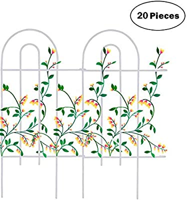 """Mr.Garden Edging Fence Metal Decorative Garden Barrier Panels 20PACK 15""""x32"""", Dog Outdoor Fence, Coated Folding Border Fences for Garden Patio Tree Ring, White (Without Decorative Flowers)"""
