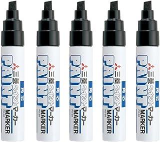 Uni-Paint Oil Based Paint Marker 5 Pens Bundle Set , Multi surface Marking Pen (PX-21) Fine Point Black Colour Broad