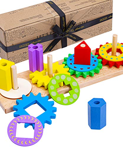 Jaques of London | Wooden Shape Sorter | Gear Puzzle | Quality Wooden Puzzles for Kids | Montessori Toys for 2 3 4 Year Old Boys and Girls | Educational Toddler Toys | Since 1795