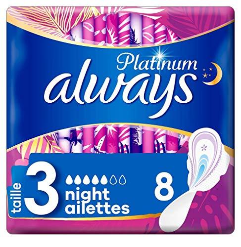 always Platinum Nuit Serviettes Hygiéniques avec Ailettes Taille 3 8 Unité