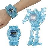 Tnfeeon Deformations Roboter Uhr Spielzeug, 2 in 1 Kindernachtlicht Armbanduhr Digital elektronische Deformations Uhr Roboter Spielzeug für Jungen Mädchen pädagogische Lerngeschenke(Blau)