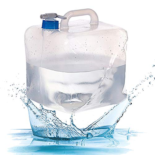 CYSJ Cubo de Agua Portátil Garrafa Plegable, 10L Contenedor de Agua de Grado Alimenticio Portá para Camping Acampada Senderismo Escalada y Actividades al Aire Libre(Transparente)