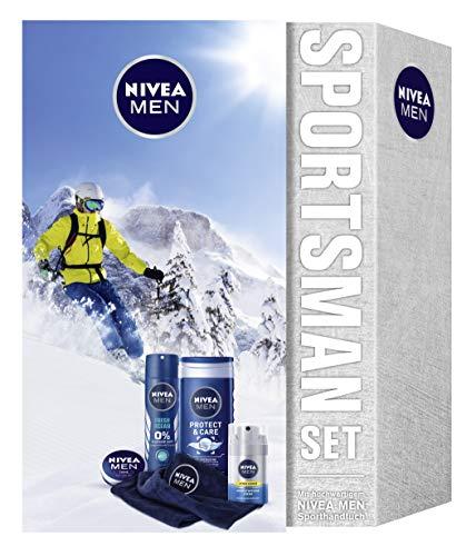 NIVEA MEN Sportsman Geschenkset, Pflegeset für Männer mit Creme, Deodorant, Pflegedusche, Gesichtscreme und Mikrofaser Handtuch, Weihnachtsgeschenke Set für den perfekten Trainingstag, 4000 ml