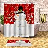 N / A Weihnachtshaken Bad Duschvorhang mit Bad Vorhang 3D Duschvorhang Blumenstoff Weihnachten Familie wasserdicht Mehltau Duschvorhang A16 90x180cm