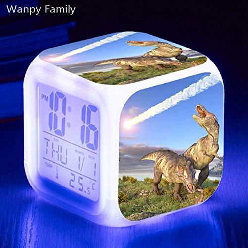 Zhuhuimin dinosaurus LED wekker 7 kleuren lichtgevende noot wekker kinderen geschenk multifunctionele Flash digitale klok klok