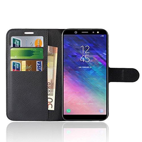 Samsung Galaxy A6 2018 Custodia, Anzhao Flip Cover Portafoglio con Slot per Schede Protettiva Custodia in Pelle per Samsung Galaxy A6 2018 (Nero)