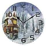 Reloj de Pared Moderno,Copo de nieve Muñeco de nieve Feliz