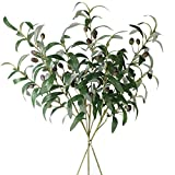 Jasming 28' Olive Artificial Branches Fake Fruits Leaves Green Plants for Office Crafts Room Decoration,Pack of 3