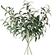 """Elyjhyy 28"""" Artificial Olive Branches Fake Fruits Leaves Green Plants for Office Crafts Room Decoration,Pack of 3"""